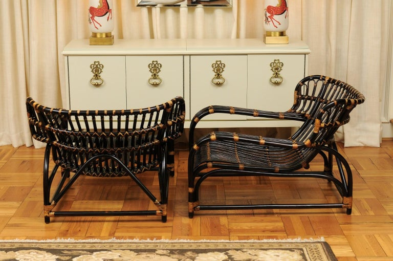 Spectacular Pair of Espresso and Caramel Art Deco Rattan Loungers, circa 1940 For Sale 10