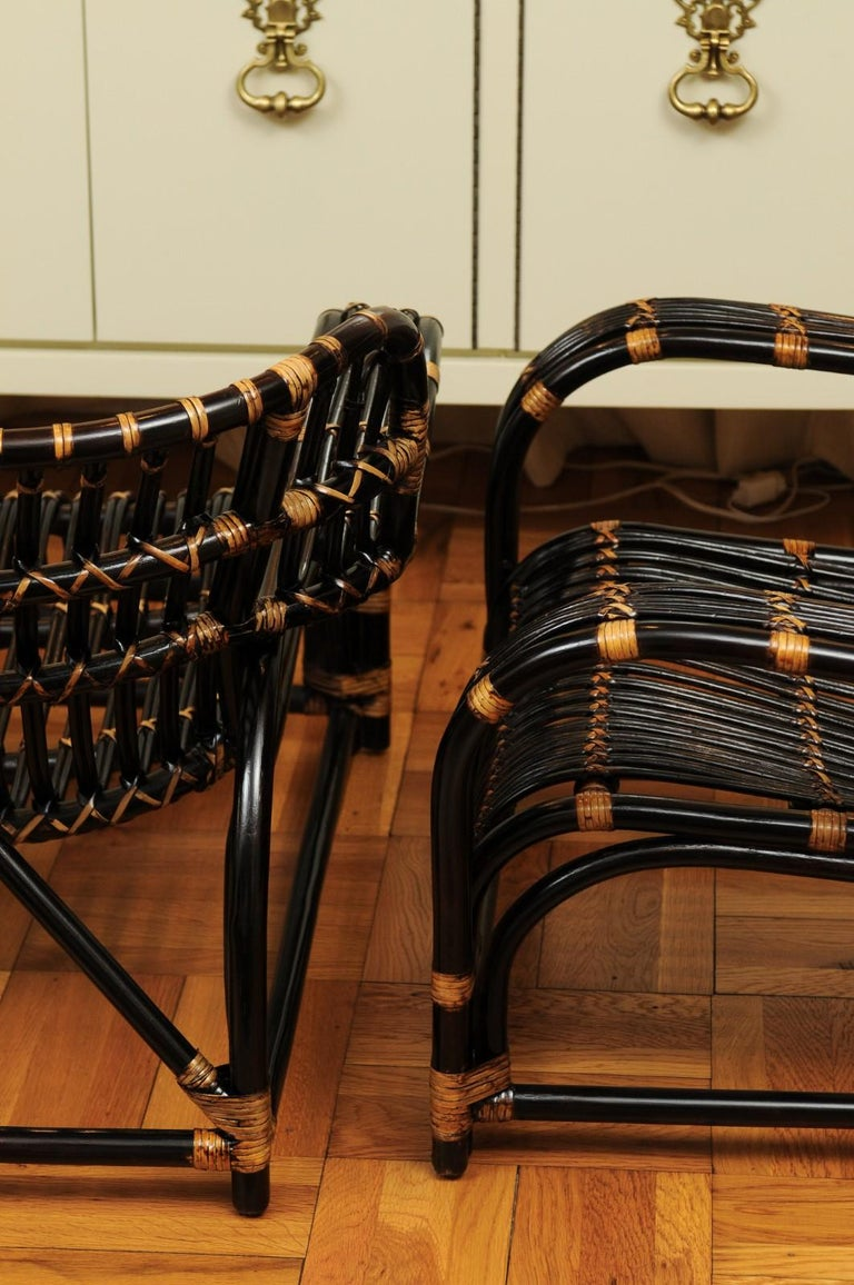 Spectacular Pair of Espresso and Caramel Art Deco Rattan Loungers, circa 1940 For Sale 11