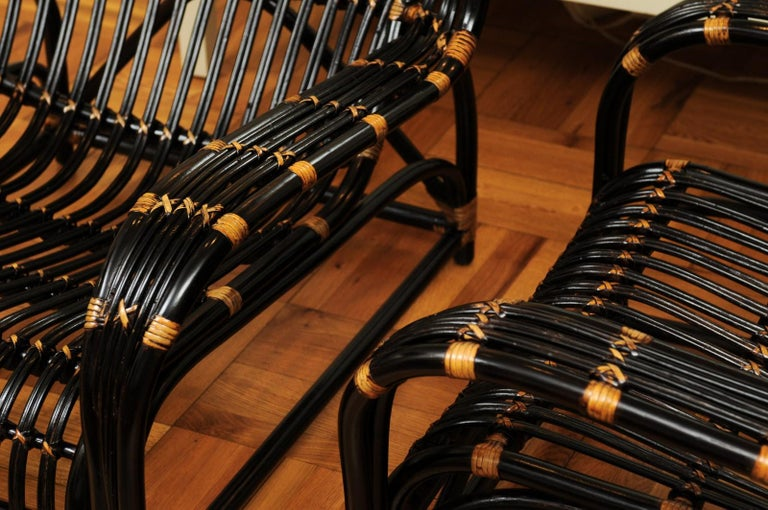 Spectacular Pair of Espresso and Caramel Art Deco Rattan Loungers, circa 1940 For Sale 12
