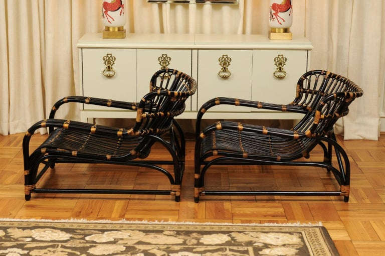 Spectacular Pair of Espresso and Caramel Art Deco Rattan Loungers, circa 1940 For Sale 13