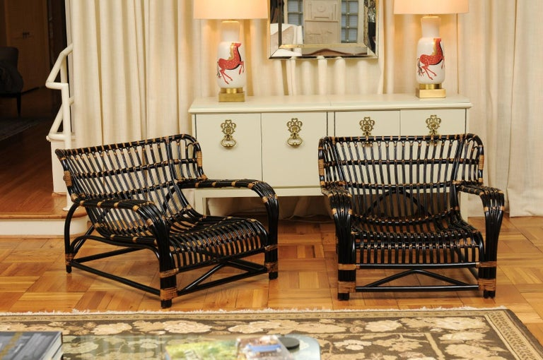 These magnificent lounge chairs are shipped as professionally photographed and described in the listing narrative: Meticulously professionally restored and installation ready. Expert custom upholstery service is available.  A spectacular