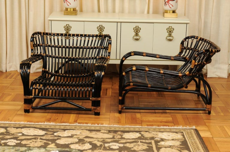 Spectacular Pair of Espresso and Caramel Art Deco Rattan Loungers, circa 1940 For Sale 14