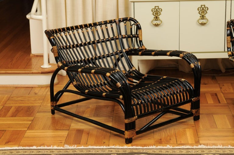 Spectacular Pair of Espresso and Caramel Art Deco Rattan Loungers, circa 1940 In Excellent Condition For Sale In Atlanta, GA