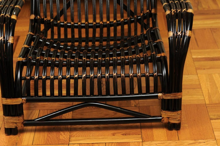 Mid-20th Century Spectacular Pair of Espresso and Caramel Art Deco Rattan Loungers, circa 1940 For Sale