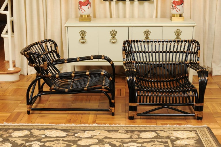 Spectacular Pair of Espresso and Caramel Art Deco Rattan Loungers, circa 1940 For Sale 2