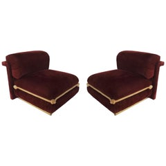 Spectacular Pair of French Art Deco Chairs with Brass Bases