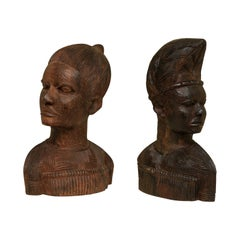 Spectacular Pair of Hand Carved Mahogany Tribal Busts, circa 1930