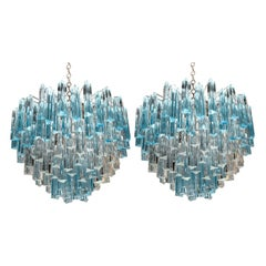 Spectacular Pair of Italian Aquamarine Chandeliers