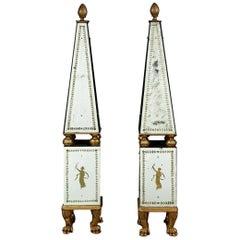 Spectacular Pair of Italian Neoclassical Mirror Obelisques