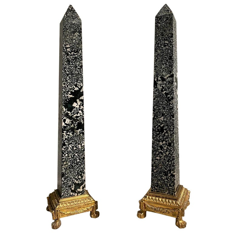 Spectacular Pair of Italian Ormolu and Green Granite Obelisks, France, 18th C. For Sale