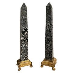 Spectacular Pair of Italian Ormolu and Green Granite Obelisks, France