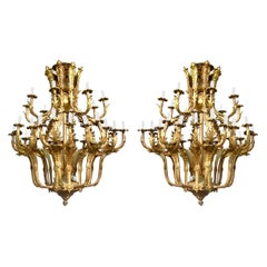 Spectacular Pair of Louis XV Style Chandeliers 36 Lights