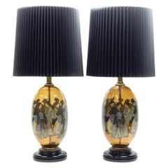 Spectacular Pair of Mid-Century Chinoiserie Glass Lamps