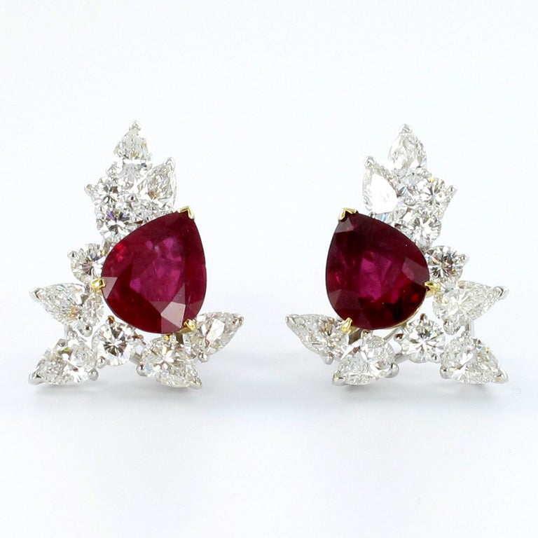 Contemporary Spectacular Pair of Ruby and Diamond Ear Clips by FRED For Sale