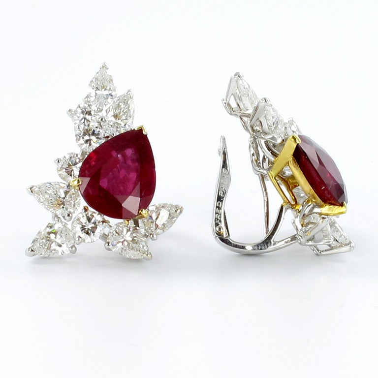 Pear Cut Spectacular Pair of Ruby and Diamond Ear Clips by FRED For Sale