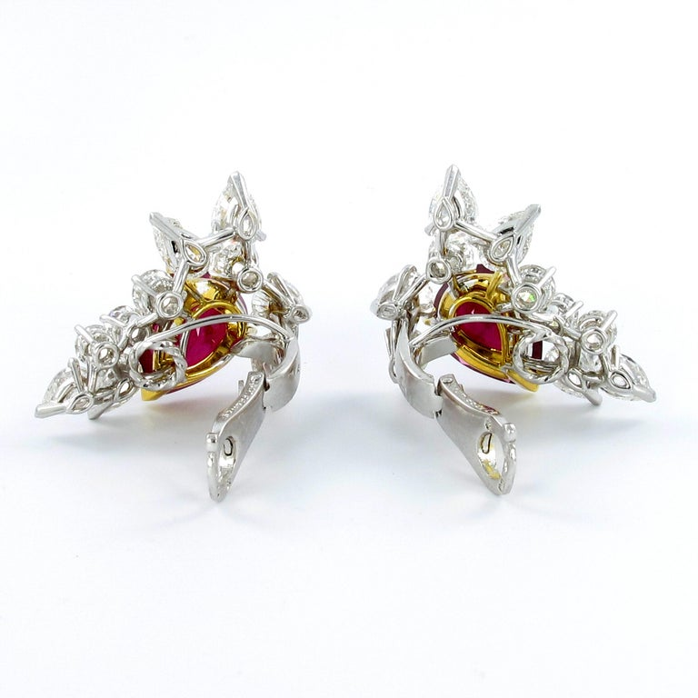 Women's or Men's Spectacular Pair of Ruby and Diamond Ear Clips by FRED For Sale