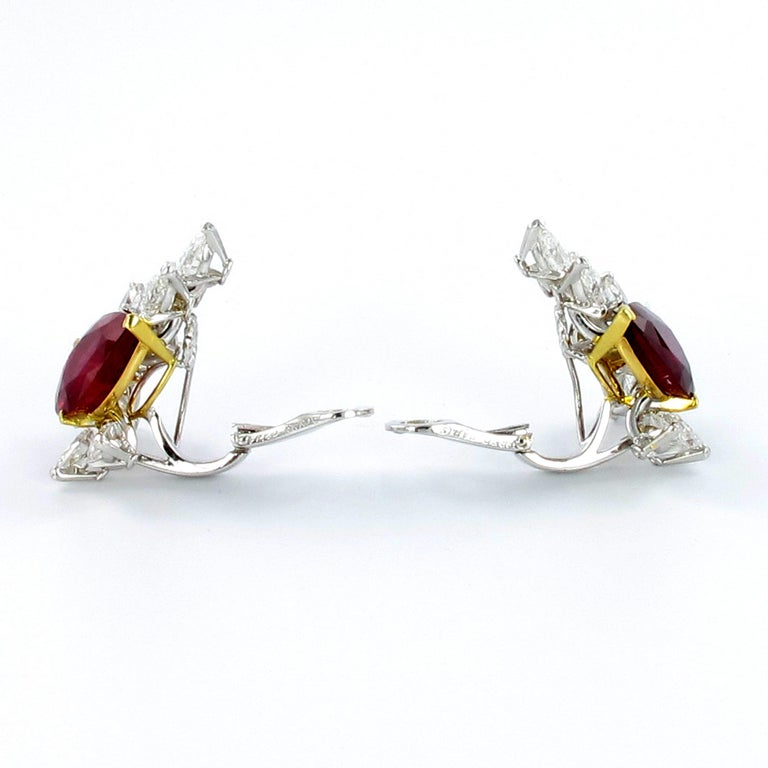 Spectacular Pair of Ruby and Diamond Ear Clips by FRED For Sale 2