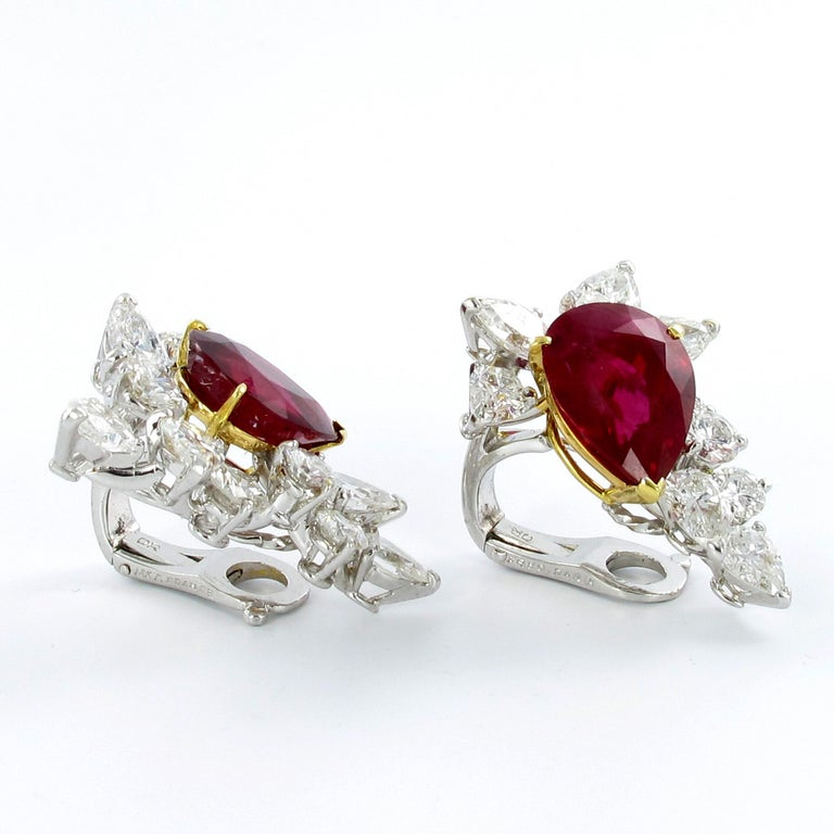 Spectacular Pair of Ruby and Diamond Ear Clips by FRED For Sale 3