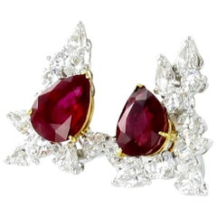 Spectacular Pair of Ruby and Diamond Ear Clips by FRED