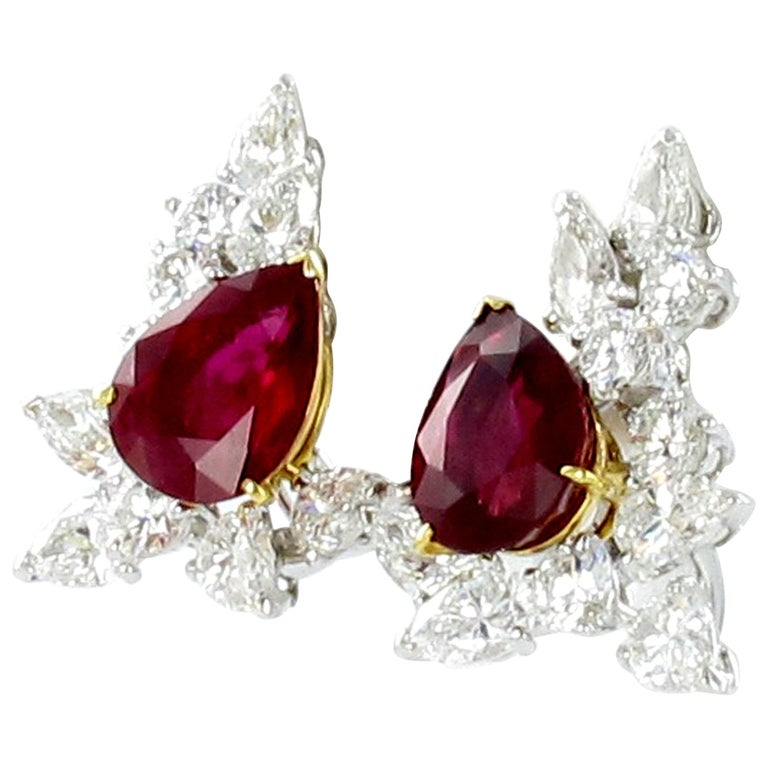 Spectacular Pair of Ruby and Diamond Ear Clips by FRED For Sale