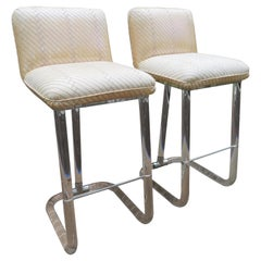 Spectacular Pair of Signed Lion in Frost Lucite Swivel Bar Stools