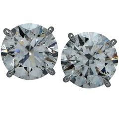 Spectacular 4.82 Carat Diamond Platinum Stud Earrings