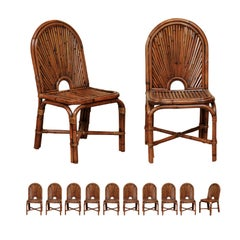 Spectacular Restored Set of 12 Rattan and Bamboo Dining Chairs, circa 1975