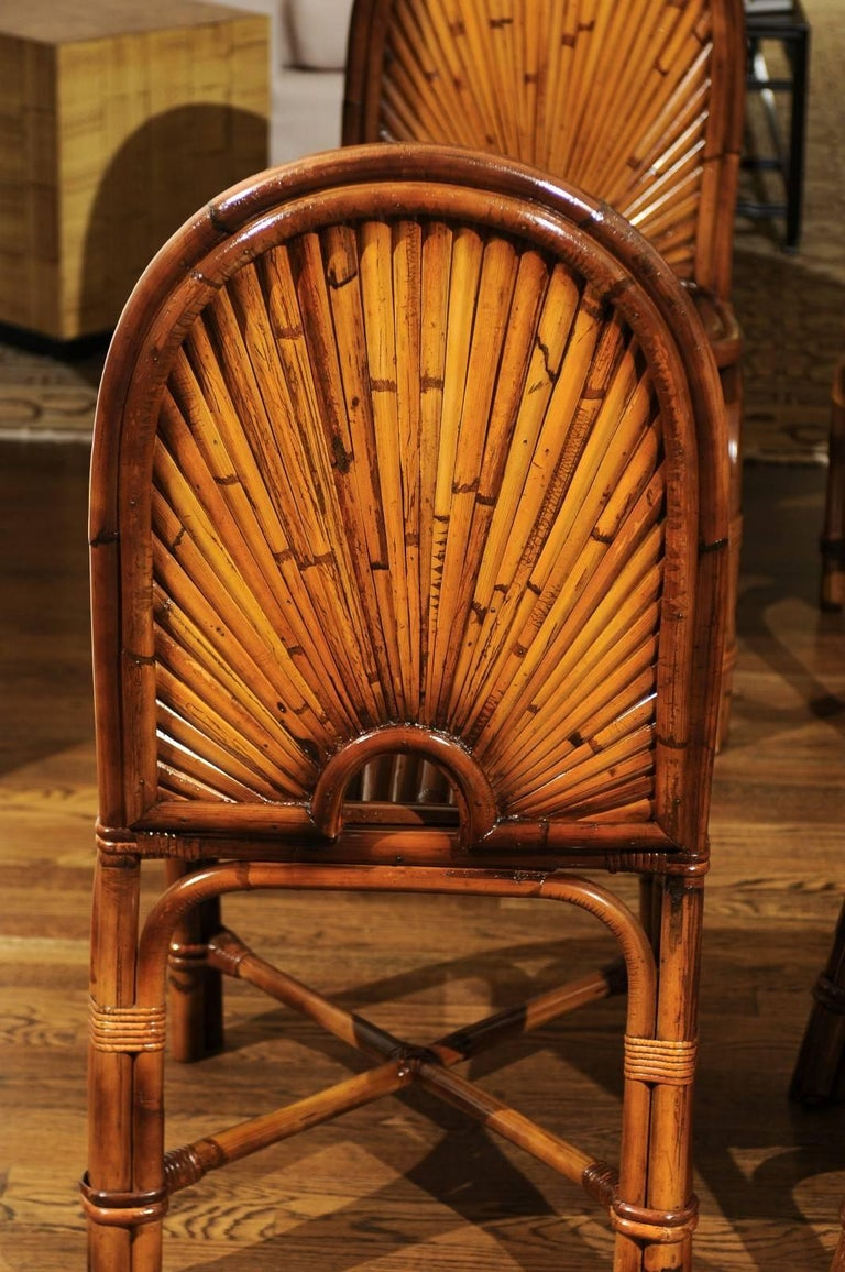 Unknown Spectacular Restored Set of 8 Rising Sun Style Bamboo Chairs, circa 1975 For Sale