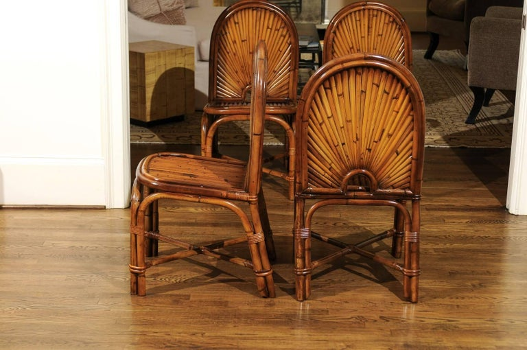 Spectacular Restored Set of 8 Rising Sun Style Bamboo Chairs, circa 1975 In Excellent Condition For Sale In Atlanta, GA