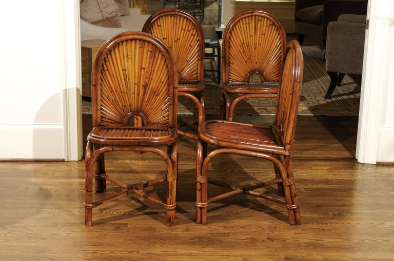 Late 20th Century Spectacular Restored Set of 8 Rising Sun Style Bamboo Chairs, circa 1975 For Sale