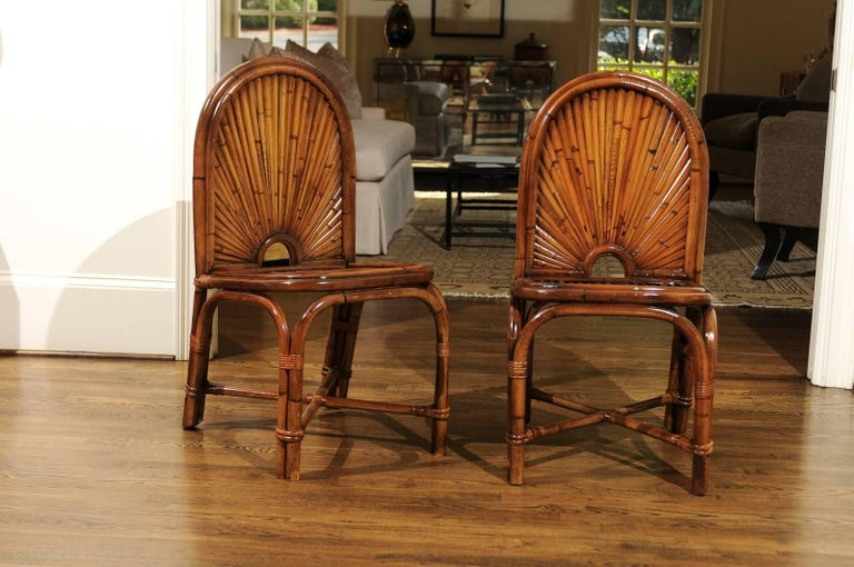Spectacular Restored Set of 8 Rising Sun Style Bamboo Chairs, circa 1975 For Sale 1
