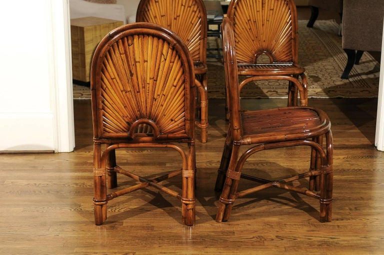 Spectacular Restored Set of Eight Rattan and Bamboo Dining Chairs, circa 1975 For Sale 4