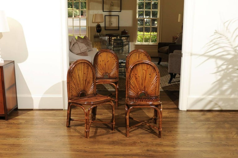 These magnificent dining chairs are shipped as professionally photographed and described in the listing narrative: Meticulously professionally restored and installation ready. Expert custom upholstery service is available.  An incredible restored