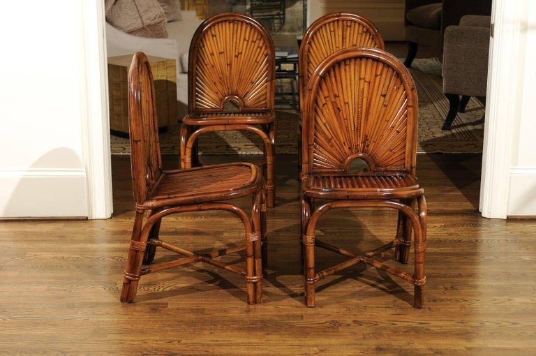 Spectacular Restored Set of Eight Rattan and Bamboo Dining Chairs, circa 1975 For Sale 2