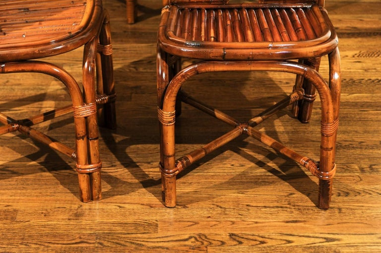 Spectacular Restored Set of Eight Rattan and Bamboo Dining Chairs, circa 1975 For Sale 3
