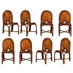 Spectacular Restored Set of Eight Rattan and Bamboo Dining Chairs, circa 1975