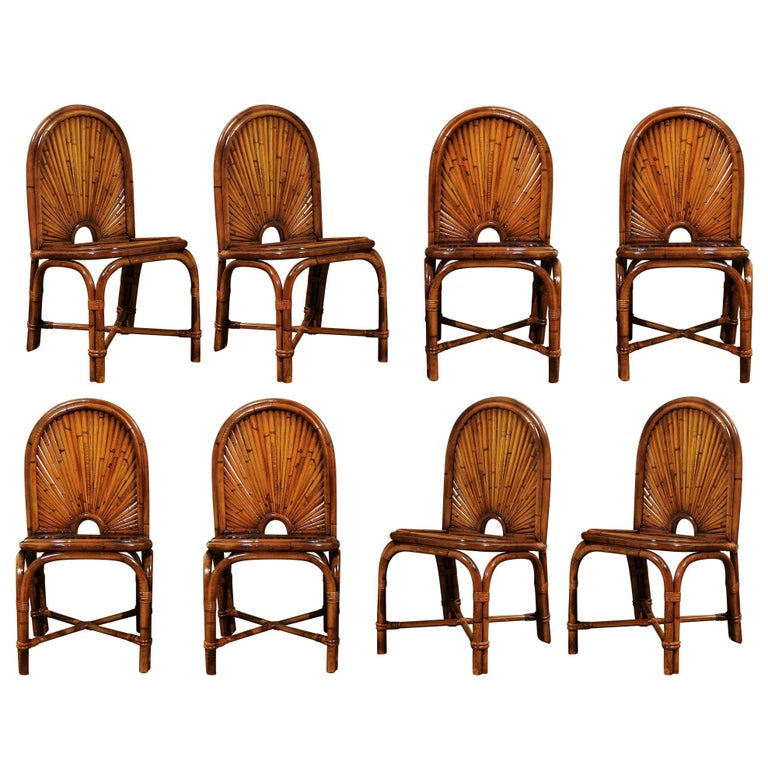 Spectacular Restored Set of Eight Rattan and Bamboo Dining Chairs, circa 1975 For Sale