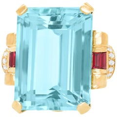 Spectacular Retro 1940s Aquamarine and Ruby Gold Ring