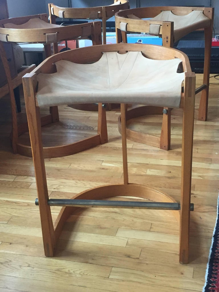 Set of Four American Studio Craft Counter Stools In Good Condition For Sale In Hudson, NY