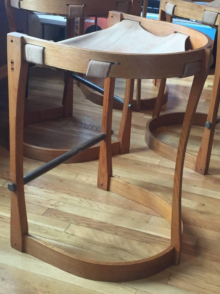 Late 20th Century Set of Four American Studio Craft Counter Stools For Sale