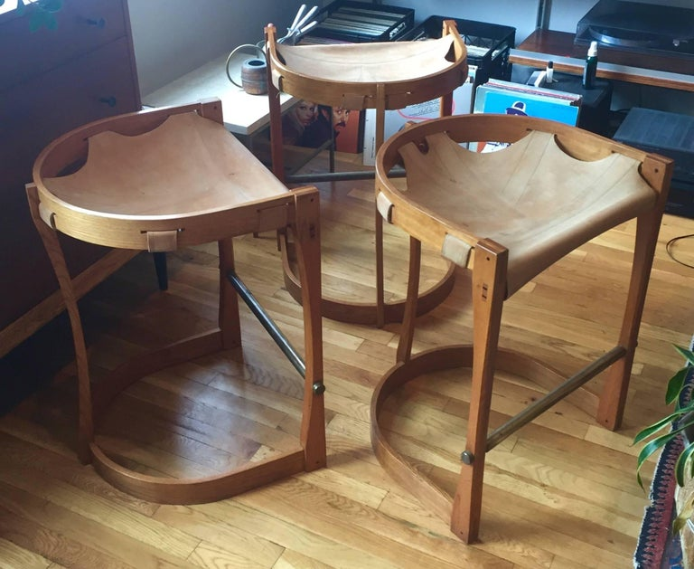 Set of Four American Studio Craft Counter Stools For Sale 5