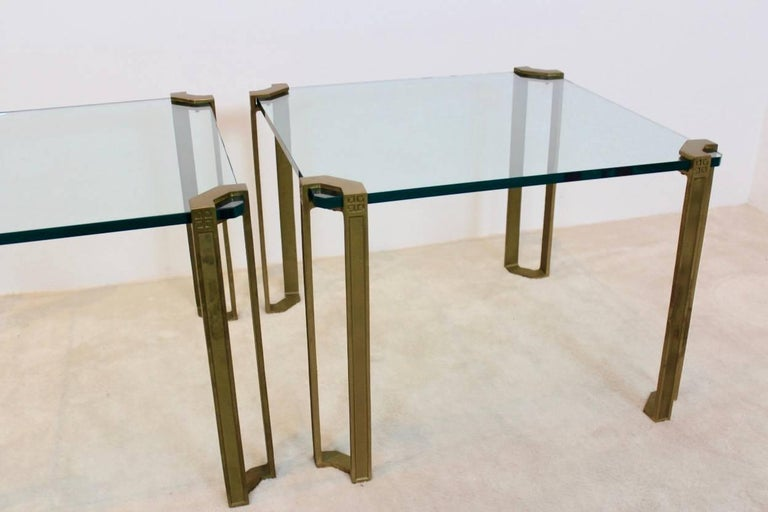 Spectacular Set of Peter Ghyczy Brass and Glass Side Tables For Sale 2