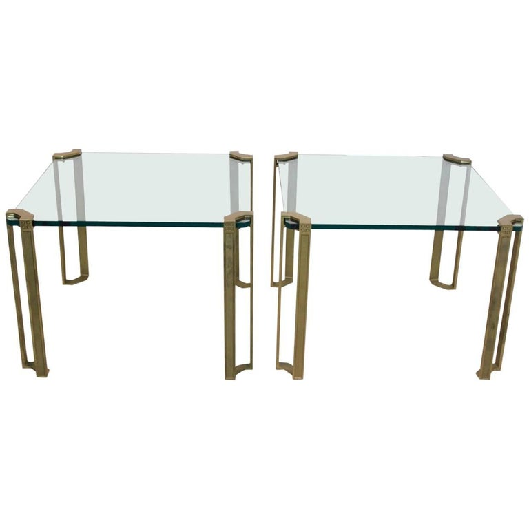 Spectacular Set of Peter Ghyczy Brass and Glass Side Tables For Sale