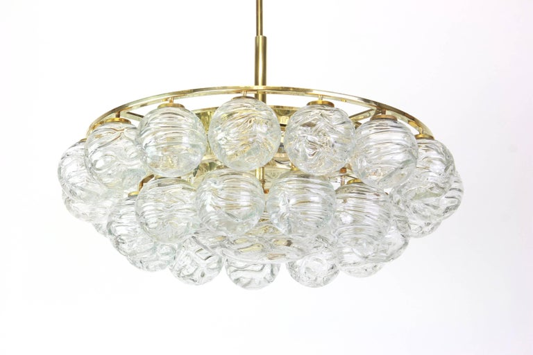 Late 20th Century Spectacular Sputnik Chandelier Murano Glass Snow Balls by Doria, Germany, 1970s For Sale