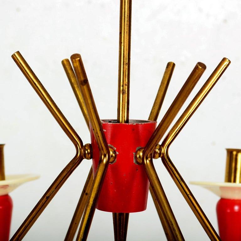 Mid-Century Modern Spectacular Stilnovo Sputnik Six-Arm Chandelier in Red, 1950s, Italy For Sale
