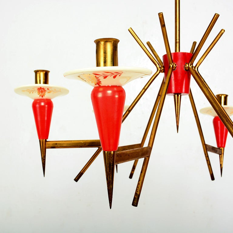 Spectacular Stilnovo Sputnik Six-Arm Chandelier in Red, 1950s, Italy In Good Condition For Sale In National City, CA