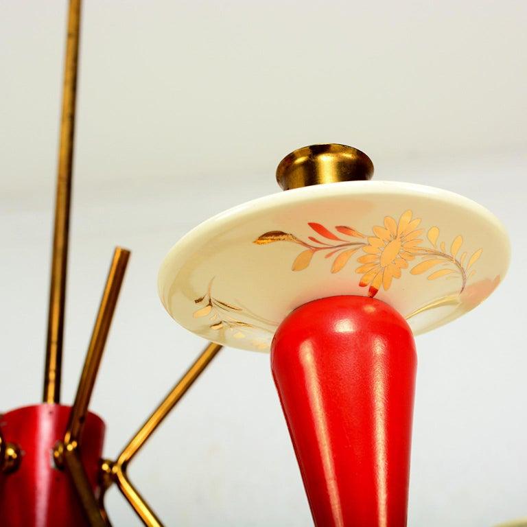 Ceramic Spectacular Stilnovo Sputnik Six-Arm Chandelier in Red, 1950s, Italy For Sale