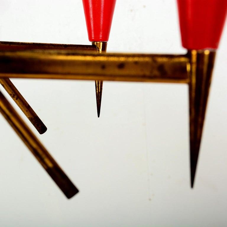 Spectacular Stilnovo Sputnik Six-Arm Chandelier in Red, 1950s, Italy For Sale 1