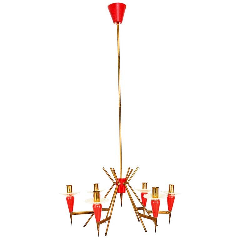 Spectacular Stilnovo Sputnik Six-Arm Chandelier in Red, 1950s, Italy For Sale