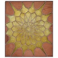 Spectacular Sunburst Golden Door Panel Wood Screen Room Divider Mod Mexico 1960s